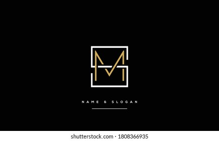 SM,MS ,S ,M  Abstract Letters Logo Monogram