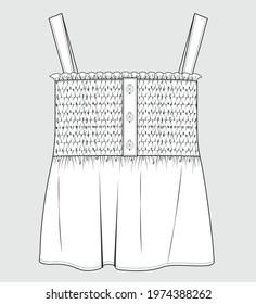 SMOCKED DETAIL TOP FOR GIRLS. GIRLS CLOTHING FASHION FLAT DRAWING