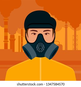 Smog and harmful emissions of enterprises. Environmental problems of cities. A man in a gas mask stands on the background of smoking pipes of factories. Vector flat illustration