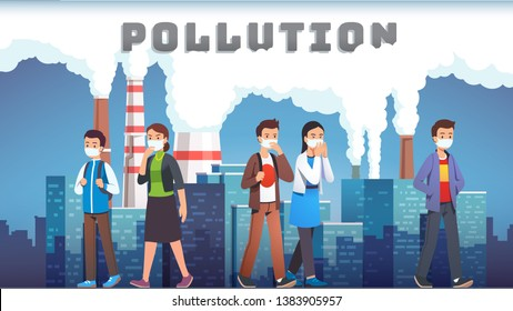 Smog polluted urban landscape with coughing people wearing respirator masks. Polluted city street with factory plants smoking chimneys. Carbon dioxide emissions concept. Flat vector illustration