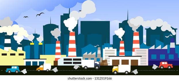 Smog polluted urban landscape. Highly polluted city with factory plants towers and pipes. Environment contaminating carbon dioxide emissions from car transportation. Flat style vector