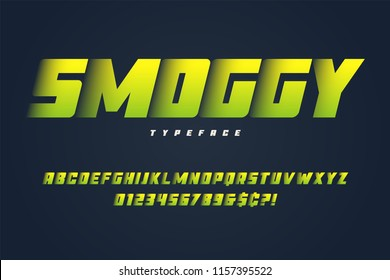 Smoggy heavy display font design, alphabet, typeface, letters and numbers, typography.