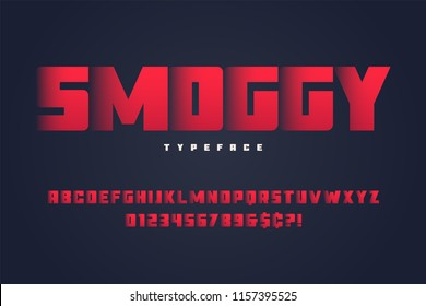 Smoggy heavy display font design, alphabet, typeface, letters and numbers.