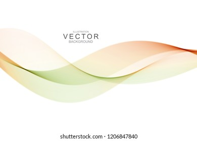 Smoke abstract background with curve shape. Usable for poster, wallpaper, cover and flyer. Colored wave lines like smoke. Colorful green fluid poster.