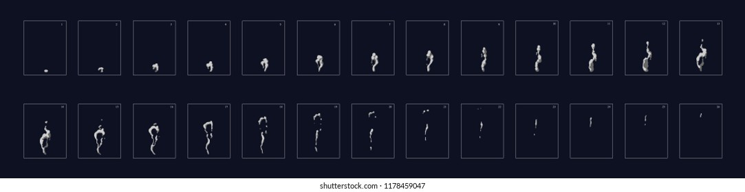 Smoke Animation effect. Animation of smoke. Sprite sheet for games, cartoon or animation.