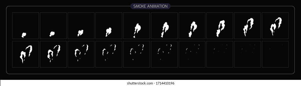 Smoke Animation Effect. Smoke Effect Sprite Sheet for Video Game, Cartoon, Animation and motion design. 2D Classic Smoke FX. EPS 10 Vector illustration.