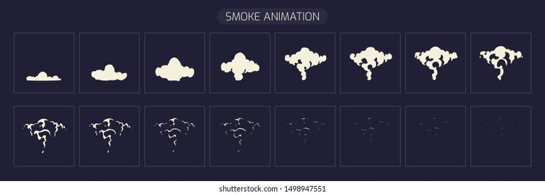 Smoke Animation explosion. This Sprite Sheet for Video Game, Mobile App and Cartoon. illustration-Vector