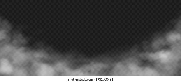 Smoke background. Realistic decorative fog effect and transparent magic mist. White vapor, creeping fume border. Cloudscape and rising smog mockup. Dust or powder cloud, vector spooky steam template