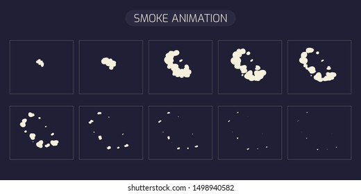 Smoke Blast Animation element. Classic Smoke effect.This Sprite Sheet for games, cartoon or animation. illustration – Vector