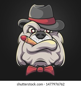 Smoke Bulldog Head Hat Cigar