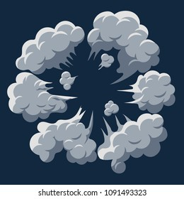 Smoke cloud Explosion. Dust puff cartoon frame, dusty bubble comic flat style. Vector