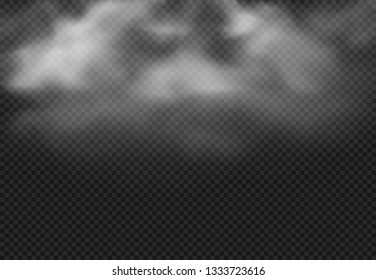Smoke cloud. Fog clouds, smoky mist and realistic cloudy effect. Condensation smoke effects, ashes mist texture or toxic gas. 3D isolated vector illustration