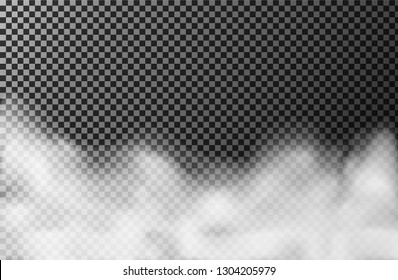 Smoke cloud on transparent background. Realistic fog or mist texture isolated on background. Vector