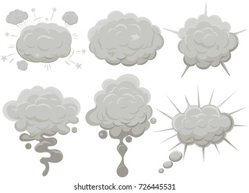 Smoke cloud set Explosion. Dust puff cartoon frame, dusty bubble comic flat style. Vector