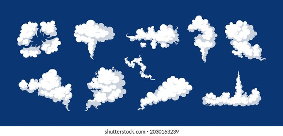 Smoke clouds, fume, explosion effects set. Comic smog, dust streaming, curve fluffy explode. Stormy movement mist, cigarette trace, vapor design. Fog, gas or hurricane cartoon vector