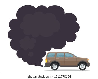 Smoke coming from big SUV exhaust into air. Exhaust gas, smoke. Environmental pollution concept. Vector illustration, flat style, isolated on white background.