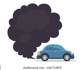 Smoke coming from car exhaust into air. Exhaust gas. Environmental pollution concept. Vector illustration.
