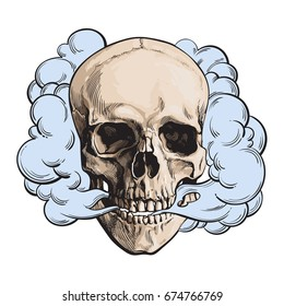 Smoke coming out of fleshless skull, death, mortal habit concept, sketch style vector illustration isolated on white background. Hand drawn smoking skull emitting clouds of smoke