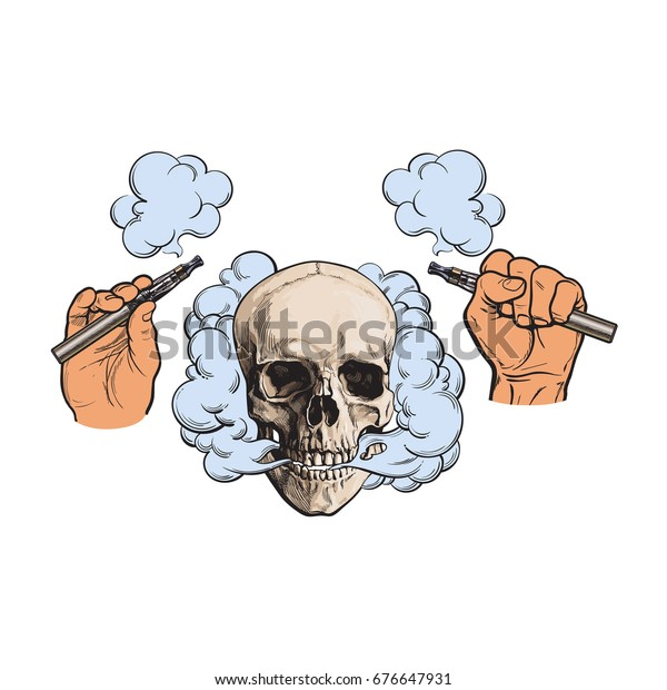 Smoke coming out of human skull and electronic cigarettes in male hands, sketch style vector illustration isolated on white background. Hand drawn hands holding e-cigarettes and smoking human skull