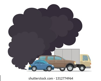 Smoke coming from transport vehicles exhaust into air. Exhaust gas, smoke, smog. Environmental pollution concept. Air pollution. Vector illustration, flat style, isolated on white background.
