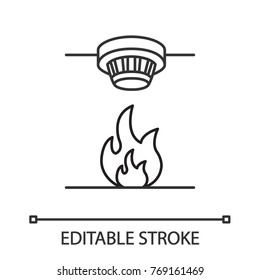 Smoke detector linear icon. Fire alarm system. Thin line illustration. Contour symbol. Vector isolated outline drawing. Editable stroke