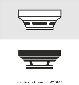 Smoke detector vector illustration side view. Black and white colors.