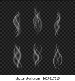 Smoke effect isolated. Steam from cup coffee, hot food. Realistic white vapor collection. Aroma swirl of tea. Mist effect. Flame of fire texture. Smoke motion on black background. vector illustration