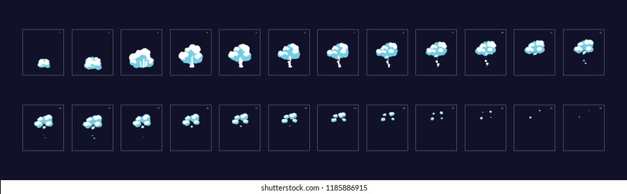 Smoke explosion animation. Animation of  Smoke. Smoke Sprite sheet for game or cartoon or animation. 2d classic animation smoke effect.