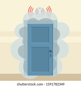 Smoke from fire seeps out of closed door. Fire alarm and smoke detector are working. Dangerous situation in house, in office. Fire security systems in work. Vector illustration, flat cartoon style.