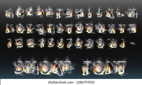 Smoke font with fire. Smoky letters and numbers. Alphabet. Smoke burning vector font.