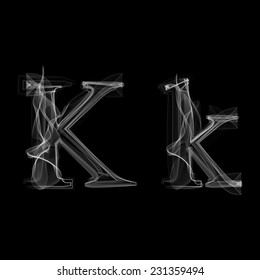 Smoke font. Letter K. Vector illustration alphabet