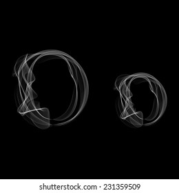 Smoke font. Letter O. Vector illustration alphabet