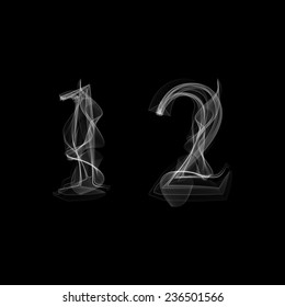 Smoke font. Numbers 1 2. Caracter one two.Vector illustration.