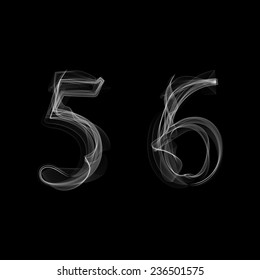 Smoke font. Numbers 5 6. Caracter five six. Vector illustration.