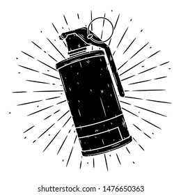 Smoke Grenade. Hand drawn vector illustration with a grenade and divergent rays. Used for poster, banner, web, t-shirt print, bag print, badges, flyer, logo design and more.