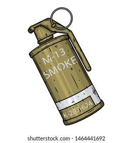 Smoke grenade. Vector illustration isolated on white background.