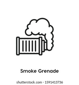 smoke grenade vector line icon. Simple element illustration. smoke grenade icon for your design. Can be used for web and mobile.