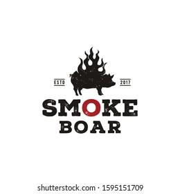Smoke Grilled Pork Pig, Silhouette Burned Boar, Hog with Fire Flame Vintage Logo design
