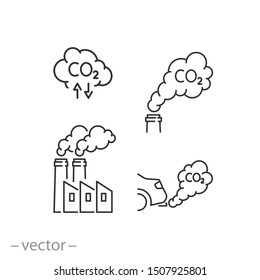 smoke icon set, air pollution, co2, thin line web symbols on white background - editable stroke vector illustration eps10