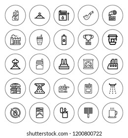 Smoke icon set. collection of 25 outline smoke icons with bbq grill, chimney, coffee cup, cigarettes, cup, factory, lighter, matches, industry, no fire icons. editable icons.