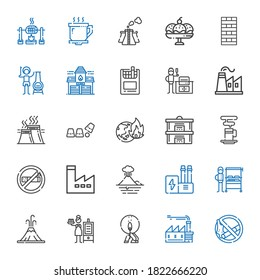 smoke icons set. Collection of smoke with no smoking, factory, match, smoker, volcano, burning grill, industry, no smoke, coffee cup, steam. Editable and scalable icons.