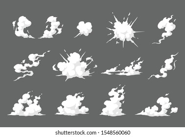 Smoke illustration set  for special effects template. Steam clouds, mist, fume, fog, dust, explosion, or  vapor  2D VFX Clipart element for animation