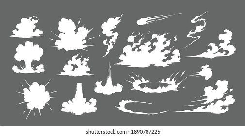 Smoke illustration set  for special effects template. Explosion, bomb,  steam clouds, mist, fume, fog, dust, dash,or  vapor  2D VFX Clipart element for animation