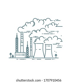 Smoke from industry smokestacks. Dangerous city air pollution vector linear illustration. Climate change. Environmental protection, ecology.