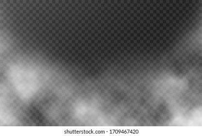 Smoke isolated on transparent backdrop. White fog effect. Realistic mist concept. Sky template with white clouds. Abstract cloudiness or smog design. Vector illustration.