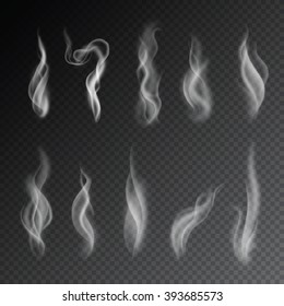 Smoke isolated on transparent background. Vector cigarettes smoke set.