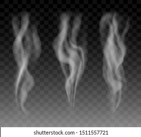 Smoke objects collection. Vector candles smokes or food and coffees steam isolated on transparent background, vector cigarette smoking abstract templates