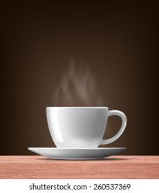 smoke over warm cup of coffee on wood table