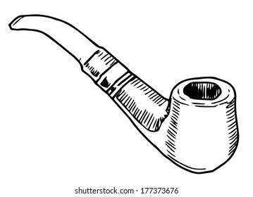 Smoke pipe vector drawing on white background