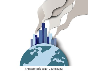 Smoke pollution from city on globe, global warming idea and concept, paper art/paper cutting style